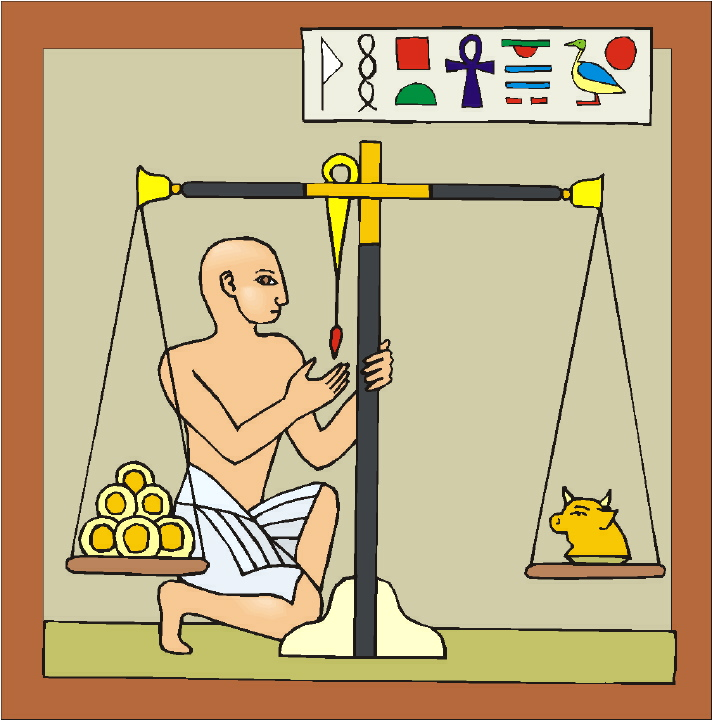 Ancient Egypt for Kids - Grain Banks, Barter, Metal Weights, Debens, Money - Paying for Goods Illustration